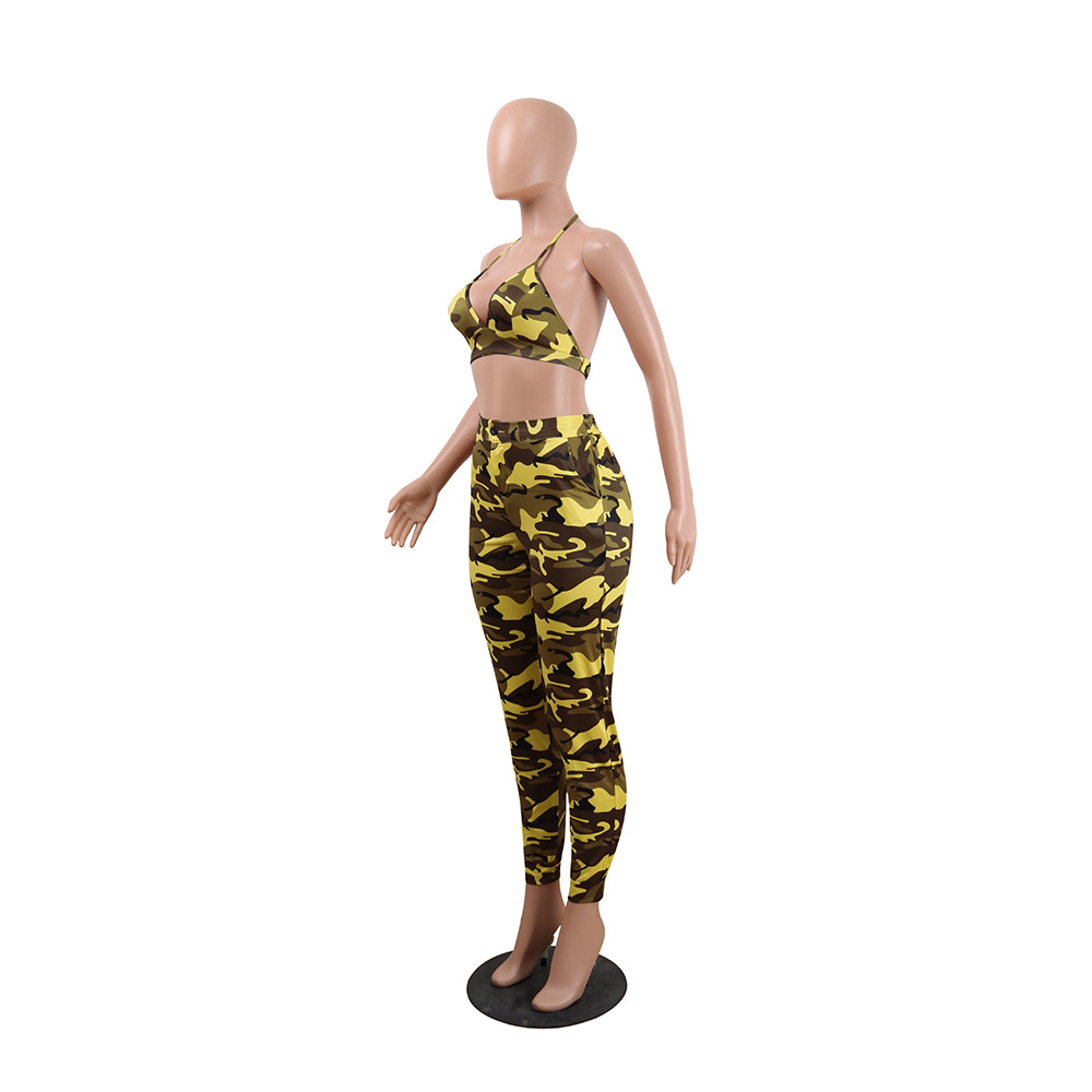 Echoine 2019 Camouflage Two Piece Set Women Halter Sets Bra Top and Pants Set Slim Sexy 2 Piece Set Casual Female Suit in Women 39 s Sets from Women 39 s Clothing