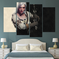 Wall Art Canvas Painting The Witcher 3 Ciri HD Printed 4 Pieces Poster Room Decor Pictures