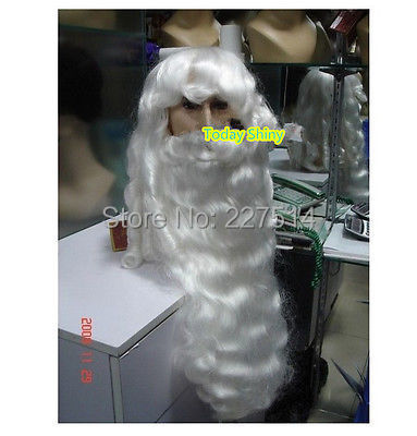 FREE shipping> >>>Deluxe Santa Claus Wig & Beard Set s Christmas <font><b>Day</b></font> evening party adorn wig image