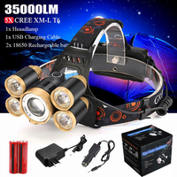 35000LM Zoom 5x XM-L T6 LED Headlamp Headlight Flashlight Head Light Set Lamp 18650 Rechargeable Battery Included DRop Shipping