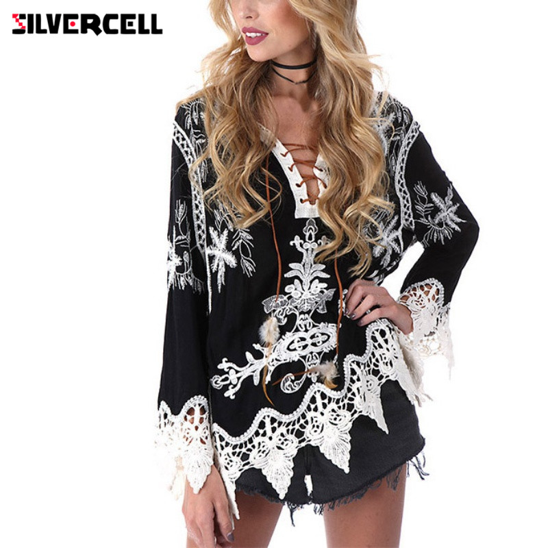 Women's Clothing Silvercell Embroidery Crochet Floral Lace Blouse For Women Lace Up Feather Decor 3/4 Sleeve Tunic Blouses For Female Boho