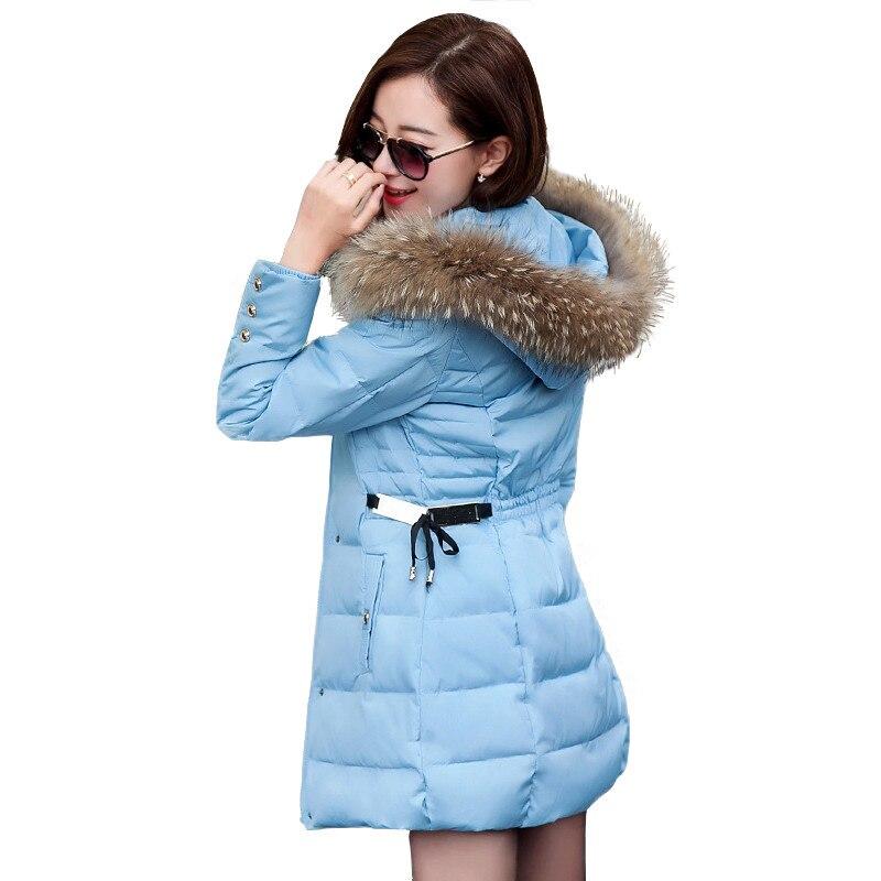 ФОТО 2016 New Coats & Jackets Hooded Winter Snow Jacket Women Fur Collar Winter Coat Women Long Cotton-padded Coat manteau femme W024