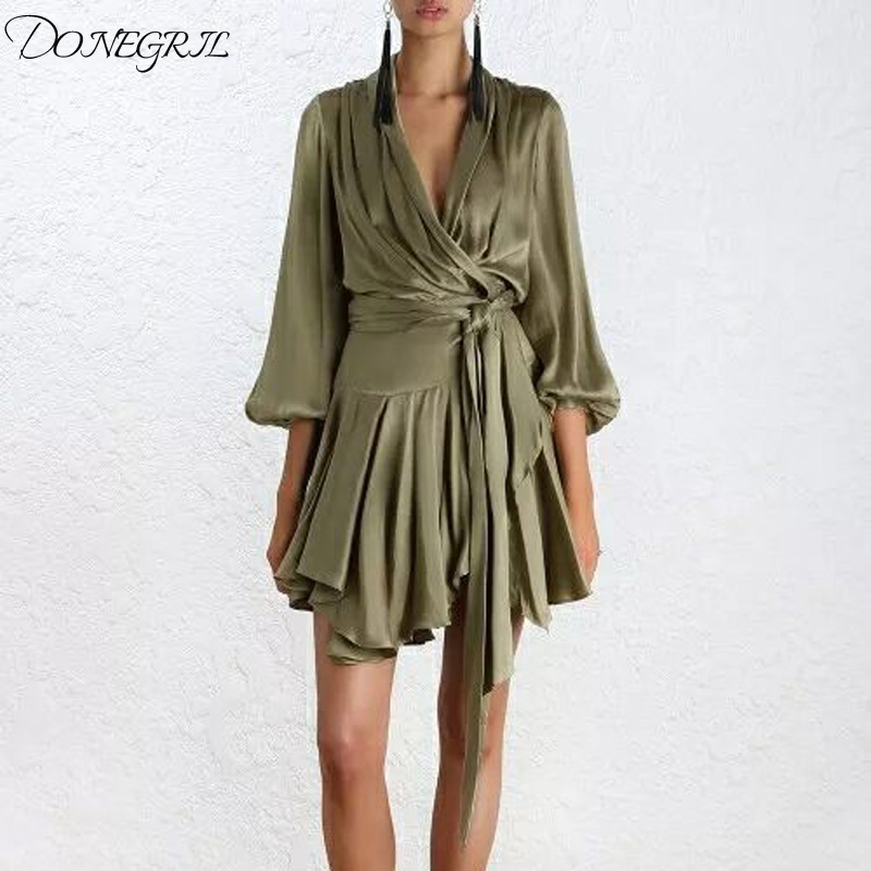 2018 Dresses Robe Long Sleeve V Neck Satin Dress Women Autumn Irregular Ruffles Vestidos Club Party Dress Jurken
