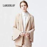 LARGERLOF для женщин блейзер простой дамы осень Весна костюмы 2018 элегантный пальто для будущих мам BR47011