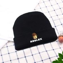 a46c0de8d9d42 Réglable Roblox chapeau d'hiver Hip-Hop Élastique Noir Sports de Plein Air Bonnet  Tricoté Coton Bande Dessinée Cosplay Cap Garço.