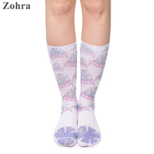 Zohra 2016 Hot Sales Women's Scok Casual Meias Funny Alien pizza Printed for Female Polyester Socks Hosiery