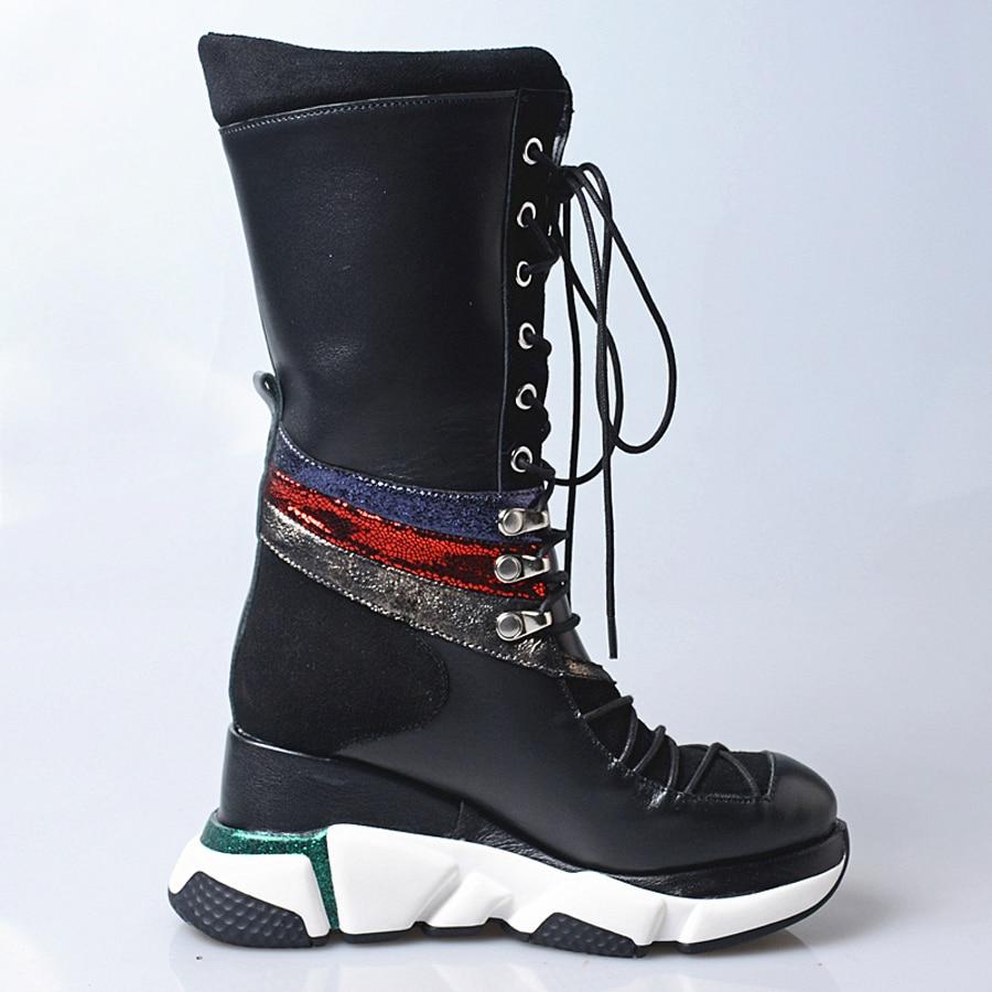 Prova Perfetto noir rouge en cuir véritable à lacets bottes décontractées femmes chaussures de sport plate forme accrue bottes mi mollet talon compensé-in Bottines from Chaussures    3