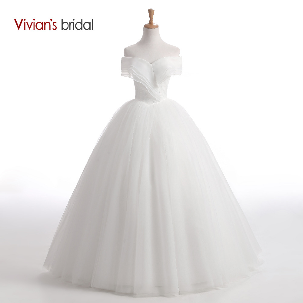 Vivian's Bridal Strapless Ball Gown Women Wedding Dress Off Shoulder Back Lace Up Tulle Wedding Gown 2018 White Bridal Dress
