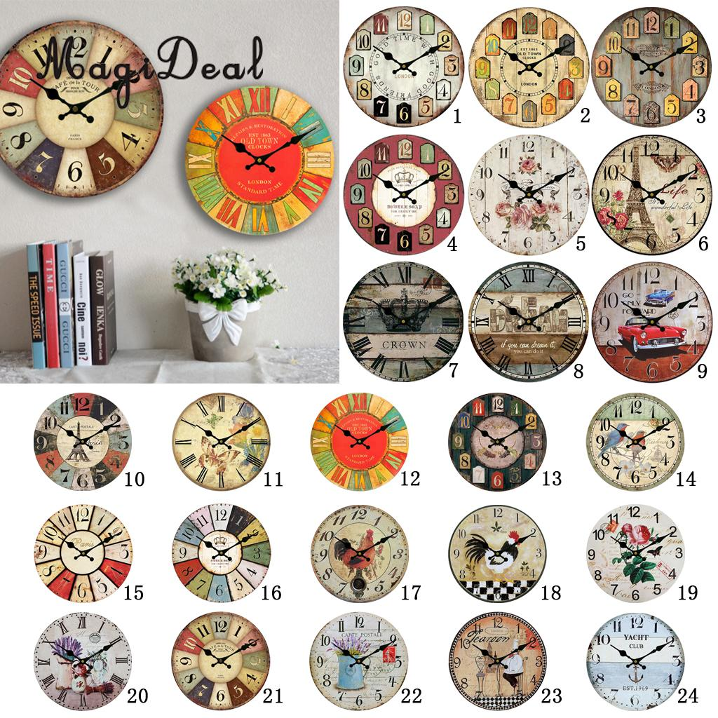 Wooden 30Cm Wall Clock Traditional Chinese Style Rustic Shabby Chic Cafe Bar Home Decor Gift