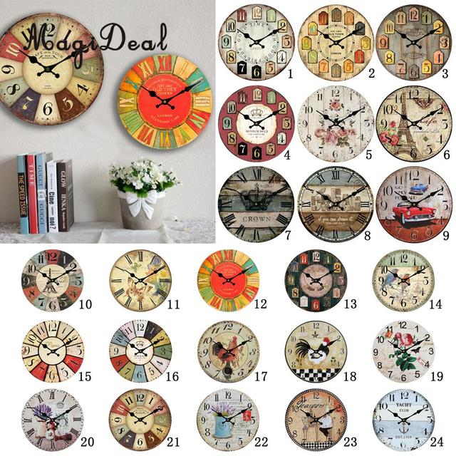 MagiDeal Wooden 30cm Wall Clock Traditional Chinese Style Rustic Shabby Chic Cafe Bar Home Decor Gift