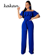 Kakan summer hot sexy women wide leg jumpsuit fashion solid color ruffled tube top red black blue