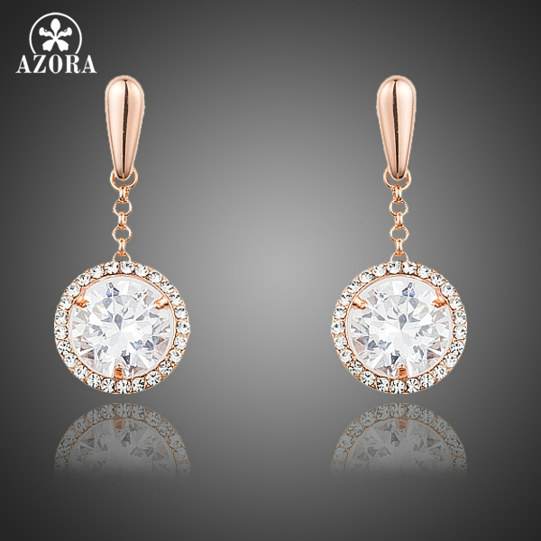 все цены на AZORA New Rose Gold Color Clear Round Cubic Zirconia Women Earrings Free Drop Shipping TE0238 онлайн