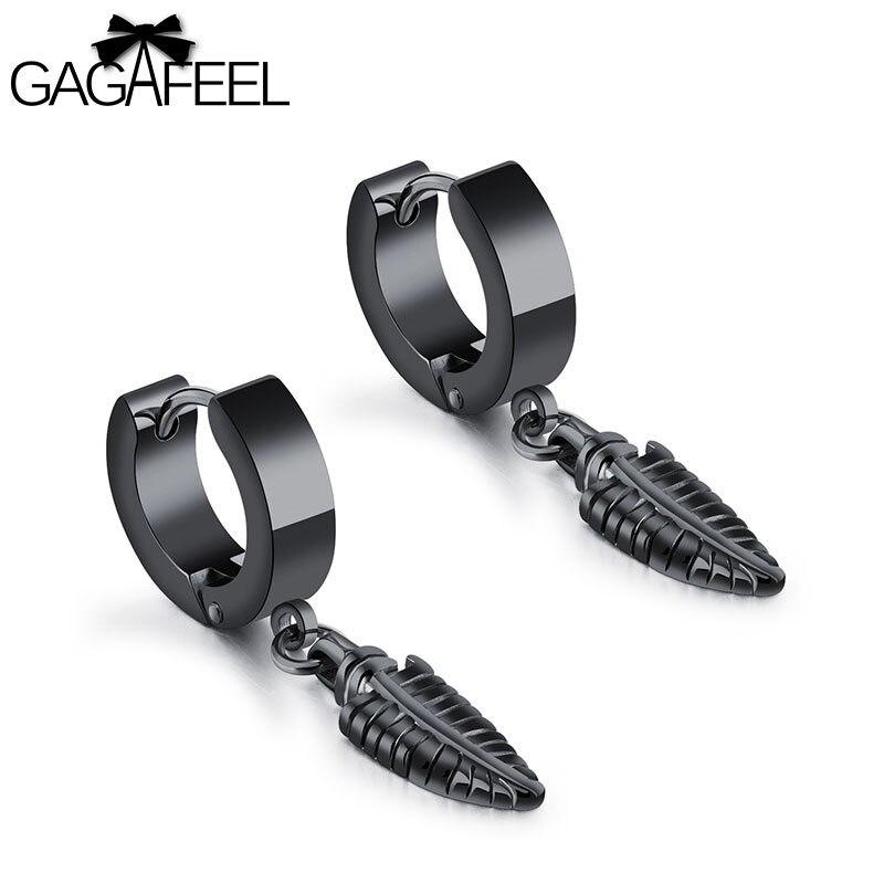 GAGAFEEL Leaf Drop Earrings For Women Men Unisex Earrings Fashion Jewelry Earring Stainless Steel Black Earring Gift For Lover