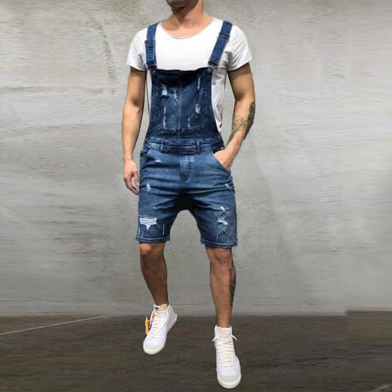 MJARTORIA Fashion Men's Ripped Jeans Jumpsuits   Shorts   Summer Streetwear Distressed Denim Bib Overalls For Man Suspender Pants