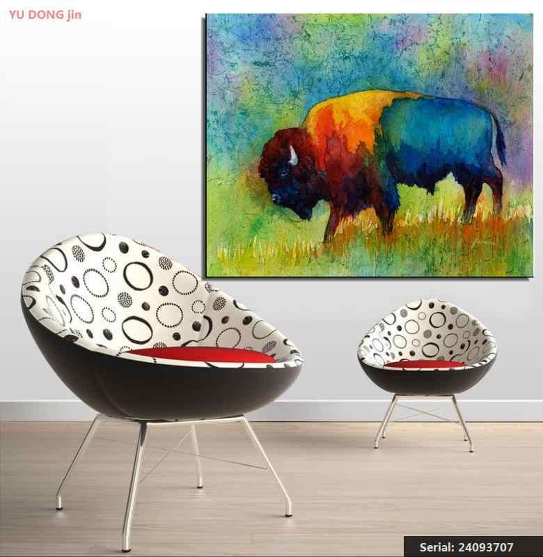 Animal de buffle américain classique peinture à l'huile dessin art Spray sans cadre toile action enfants en laiton wine24093707