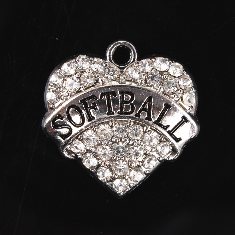 New Fashion Heart Letter Softball Clear Crystal Charm Pendant For Diy  Necklace Bracelet Keychain Making Accessories