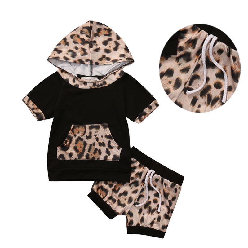 2pcs Summer Infant Baby Girl Boy Clothes Leopard T-shirt Tops Shorts Outfits Set Children Boys Girls New Arrival Clothing 1set retail hot 2015 children clothing set casual boy s beach set t shirt shorts 2 pcs for summer baby set freeshipping
