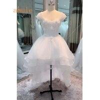 Пляж Свадебные платья 2018 Высокая Передняя нижней части спины Паффи прекрасный свадебные платья белое свадебное платье свадебные платья