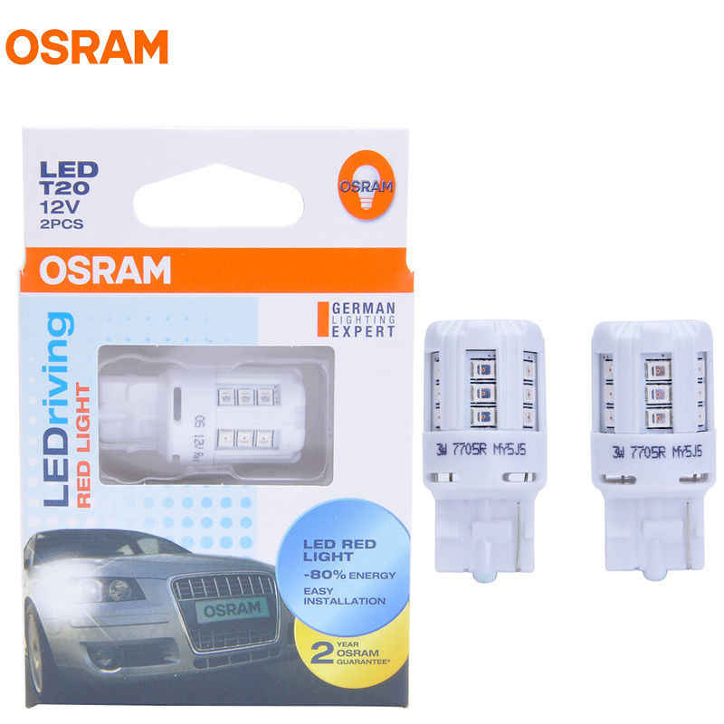 OSRAM LED T20 7705R 12V 3W W21W 7440 Red Color LEDriving Standard Car Side Marker Bulbs Turn Signal Light 80% Energy Saving Pair