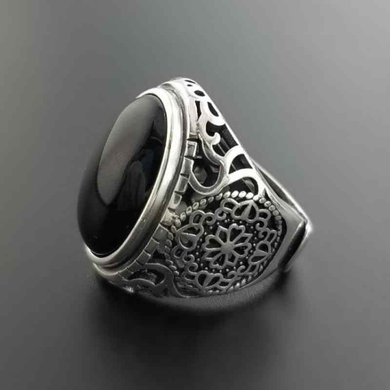 875ffc47d3b98 Real Solid 925 Sterling Silver Black Ring Men Vintage Hollow Flowers Rings  Open Natural Onyx Stone
