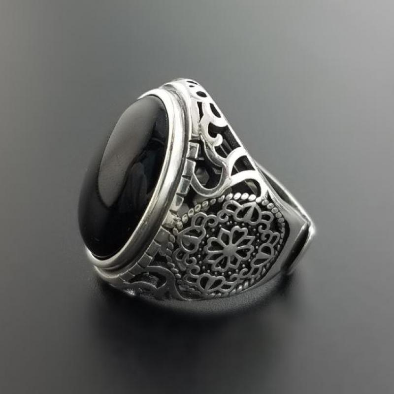 Real Solid 925 Sterling Silver Black Ring Men Vintage Hollow Flowers Rings Open Natural Onyx Stone Large Oval Shape Male Jewelry