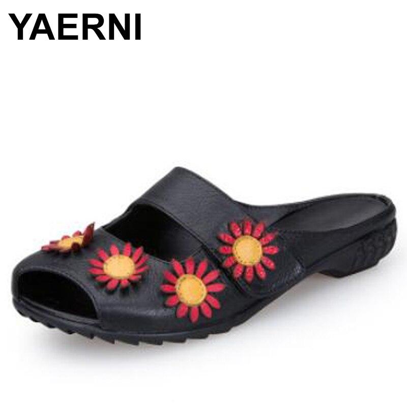 YAERNI 2018 Этническая Стиль женская обувь из натуральной кожи тапочки на плоской подошве с цветами ручной работы из коровьей кожи женские туфли...