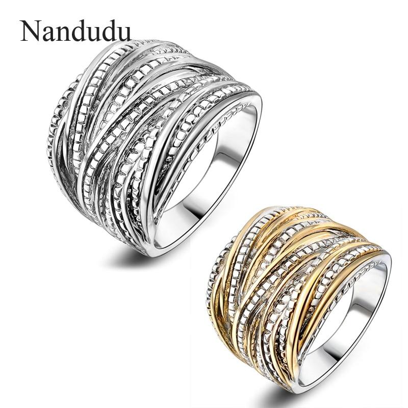 Nandudu Women/Men Gold Filled Vintage Interwined Two Tone Antique Design Ring Fashion Jewelry Elegant Rings Gift цены онлайн