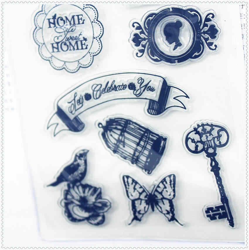 PANFELOU 11.3*15.56 cm clé photo serrure Transparent Silicone caoutchouc clair timbres bande dessinée pour Scrapbooking/bricolage album de mariage