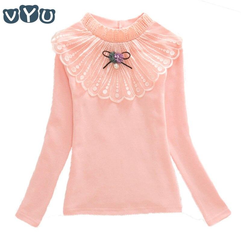 0bd8bbeda Ropa para niños niñas blusa cuello alto primavera otoño lazo encaje camisa  bebé escuela niñas manga larga parte inferior para edad 3-14 años