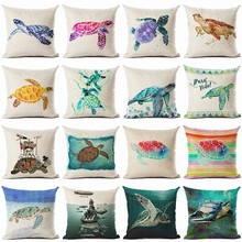 RECOLOUR  Watercolor Sea turtle Printed Pillow cover Sofa Cushion Cover Home decor cojines decorativos para sofa 45X45cm