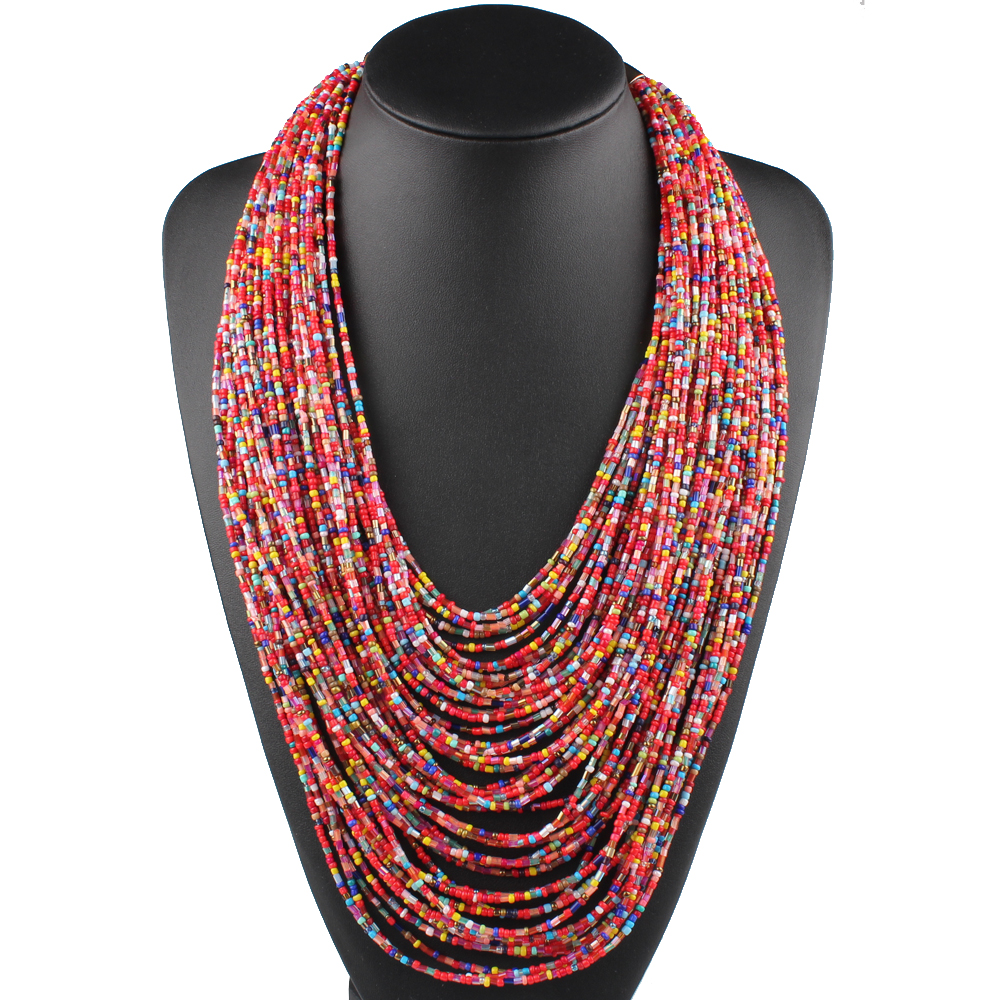 Claire Jin Bohemian Small Beads Multi Layer Necklace Vintage Women Fashion Statement Necklaces Choker Ethnic Jewelry