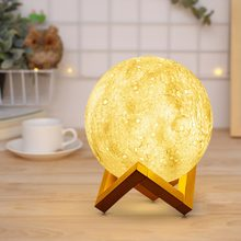 Creative Moon LED Desk lamp USB Rechargeable Table lamp 3D Print Novelty Bed Night light Touch Switch Kids Gift Bedroom Decor(China)