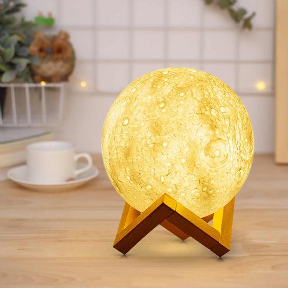 Креативный лунный светодиодный настольный светильник USB настольная лампа с зарядкой 3D принтом Новинка кровать ночник сенсорный выключатель детский подарок декор для спальни