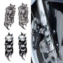 1 par Universal Motocicleta Garfo Dianteiro Da Bicicleta Crânio Zombie Decalques Adesivos Gráficos Moto para Honda Kawasaki Yamaha Harley