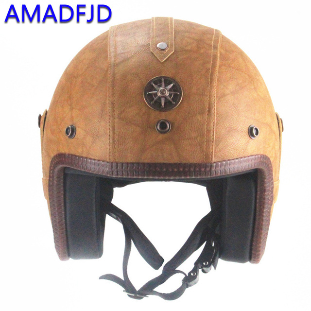 Classic retro style leather motorcycle helmet Head protection anti-collision resistant safety moto helmets for harley