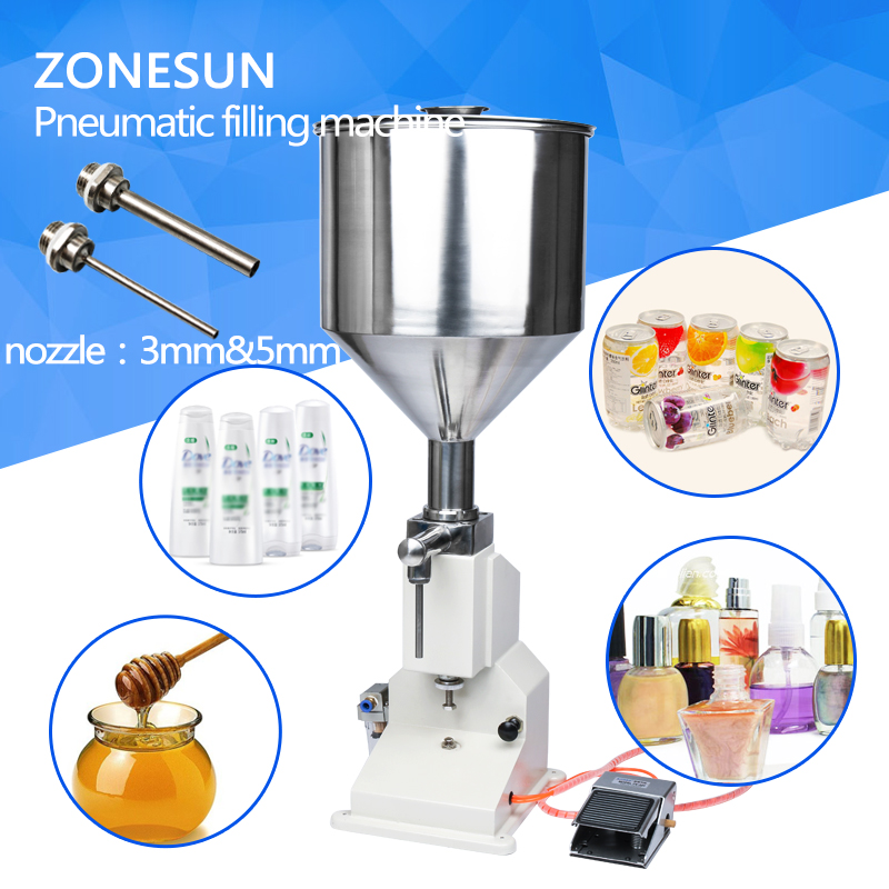 ZONESUN A02 stainless steel Pneumatic paste liquid filling machine.5-50ml,tank capacity 10kg a03 upgraded high precision small bottle handle operate stainless steel manual paste liquid filling machine 5 50ml