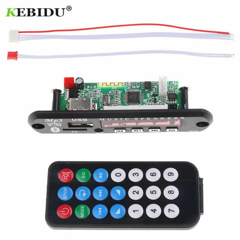 Kebidu Senza Fili di Bluetooth MP3 Modulo scheda di Decodifica Audio USB TF di FM Radio AUX 12V 24V per Auto + a distanza di Controllo per il iPhone Huawei