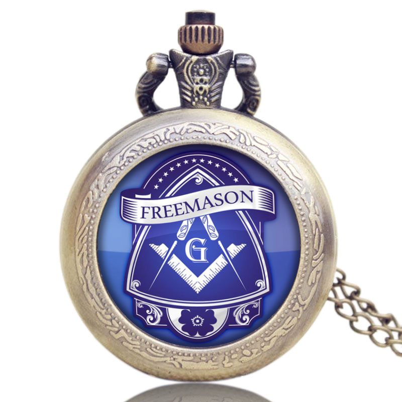Masonic Freemason Freemasonry Glass Dome Case Design Quartz Pendant Pocket Watch With Chain NecklaceMasonic Freemason Freemasonry Glass Dome Case Design Quartz Pendant Pocket Watch With Chain Necklace