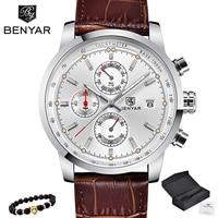 BENYAR Business Quartz Watch Men Sport Watch Luxury Brand Leather Wrist Watch Men Chronograph Watch Male Clock Relogio Masculino