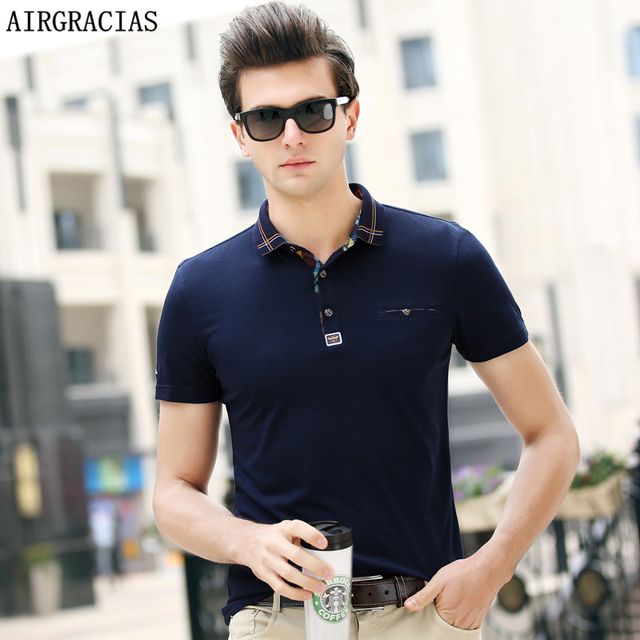 17beb624b5b AIRGRACIAS New 2018 Brand POLO Shirt Men Cotton Fashion Solid Color Camisa Polo  Summer Style Short sleeve Casual Business Shirts