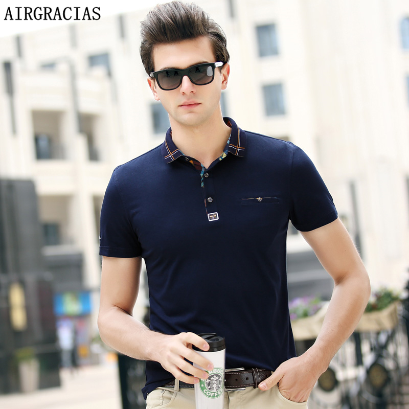 AIRGRACIAS New 2018 Brand   POLO   Shirt Men Cotton Fashion Solid Color Camisa   Polo   Summer Style Short sleeve Casual Business Shirts