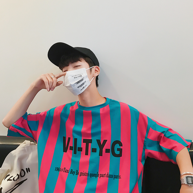 18 Summer Wear New Pattern INS Popular Element Letter Stripe Short Sleeve T Pity Male hiphop simple Favourite Free shipping