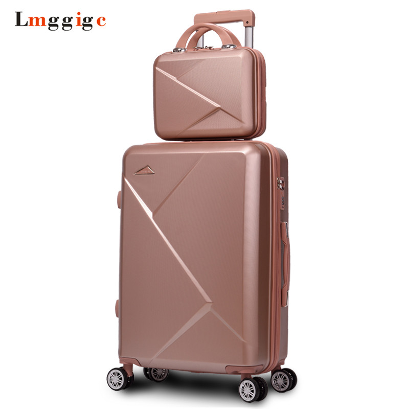 Women Luggage Bag set,Travel Suitcase+Handbag,Rolling Lockbox, ABS Trolley Case with Wheel,New Fashion Hardcase Bag