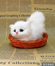 cute simulation white cat lifelike small cat model in a basket gift 13x12cm