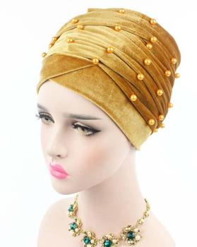 Party Hats Velvet Pearl Turban Bonnet Tube scarf Hat Hijab Hair Loss Chemo Headwear Pleated Long Head Wrap Hijab Cap