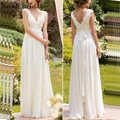 Simple Beach Wedding Dresses 2017 Hot Sale V-neck Lace Draped Chiffon Vestido De Noiva Sleeveless Floor Length Bridal Gowns