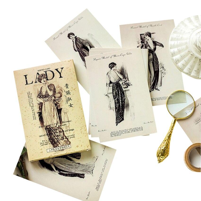 4packs/lot Beautiful Aristocratic Lady  Bird Greeting Card Postcard Bookmark Greeting Card  Gift Card Set Message Cardwholesale