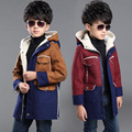 2017 Fall Winter Boy's Spliced Suede Long Trench Coat Children's Casual Outerwear Teenage Kids Polar Fleece Patchwork Jacket A26