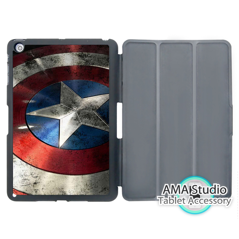 Captain America Shield Stand Smart Cover Case For Apple iPad Mini 1 2 3 4 Air Pro 9.7 Wake UP Sleep doctor who tardis police box smart cover case for apple ipad mini 1 2 3 4 air pro 9 7
