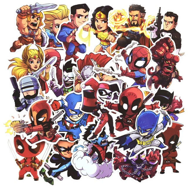 50 Pcs Super Hero Cool Stickers for Laptop Car Styling Phone Bicycles Luggage Motorcycle Vinyl Decals PVC DIY Waterproof Sticker